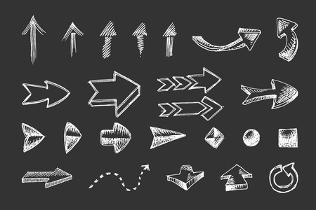 hand drawn arrows icons set isolated on black background