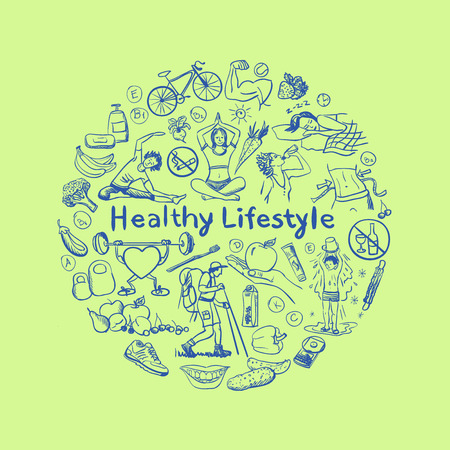 Hand drawn healthy lifestyle concept. excellent vector illustration, EPS 10