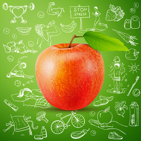 healthy lifestyle background with apple. excellent vector illustration, EPS 10