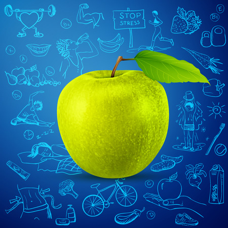 healthy lifestyle background with green apple. excellent vector illustration, EPS 10