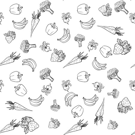 Seamless pattern with vegetables and fruit, excellent vector illustration, EPS 10 矢量图像