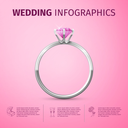 context: Wedding infographic with diamond ring. Wedding day coast statistics design template.