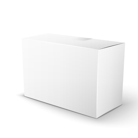 White Product Package Box. Illustration Isolated On White Background. Mock Up Template Ready For Your Design. Vector EPS10