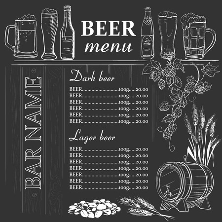 Beer menu hand drawn on chalkboard, excellent vector illustration Stock Illustratie
