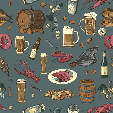 irish pub label design: Colored beer hand drawing pattern. Vector texture in hand draw style