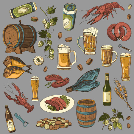 irish pub label design: colored beer hand drawing set of vector sketches, excellent vector illustration
