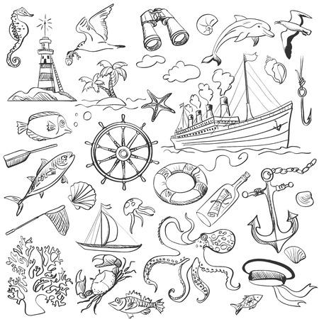 ancre marine: �l�ments dessin�s � la main de th�me marin avec un phare, bateaux, voiliers, ancre, rames, roues et une bouteille avec un message Illustration