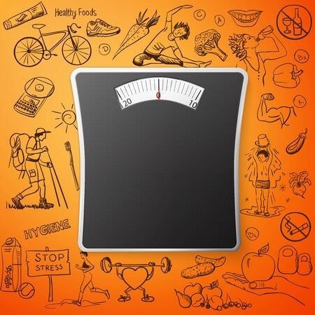 healthy lifestyle background with Bathroom Weight Scale, excellent vector illustration