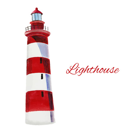 lighthouse. watercolor painting on white background, excellent vector illustration 矢量图像