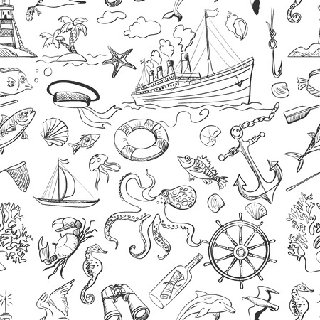 Nautical or marine themed seamless pattern with anchors  life buoys  ropes  knots  compass  yacht  semaphore flags  seagulls and other