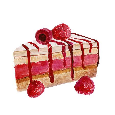 porcion de pastel: Pastel de la acuarela con crema de fruta de color rosa, fresa. Ilustración vectorial postre aislado en fondo blanco.