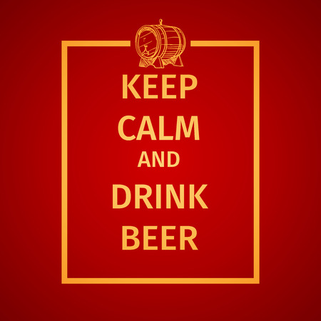 cerveza: Poster of Keep Calm And Drink Beer. For the menu, pubs, bars and restaurants.  Hand drawing icon