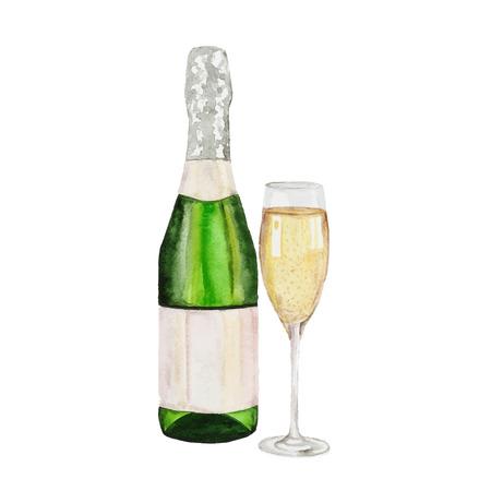 Champagne fles en glas champagne. aquarel schilderij op een witte achtergrond Stock Illustratie