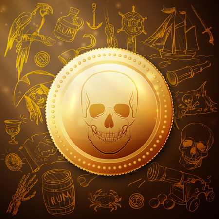 coin skull pirate and Hand drawn icon, excellent.