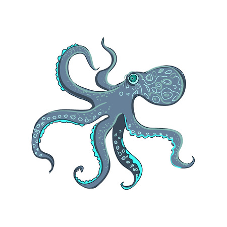 tentacles: doodle octopus, isolated on the white background