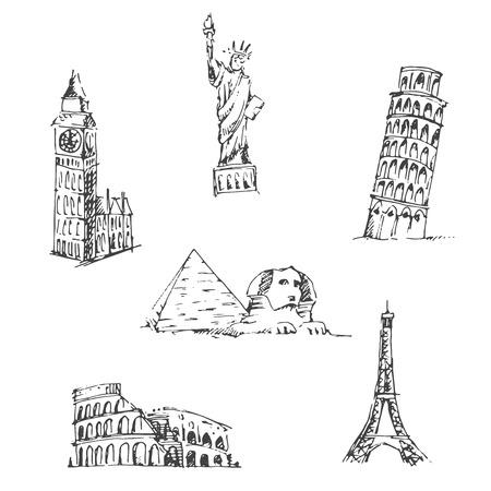famous: 塗鴉旅行套裝。世界著名的地標。