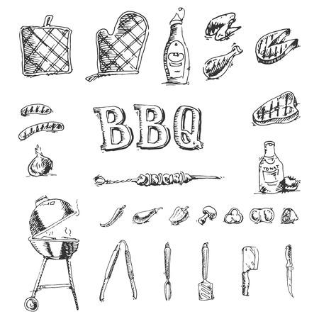 Doodle set van de barbecue en grill-elementen