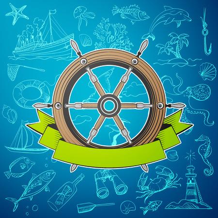 timon barco: barco del timón con los elementos dibujados a mano de tema marino