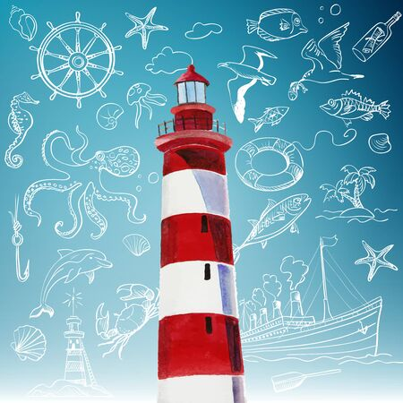 brig: lighthouse and hand-drawn icons of marine theme