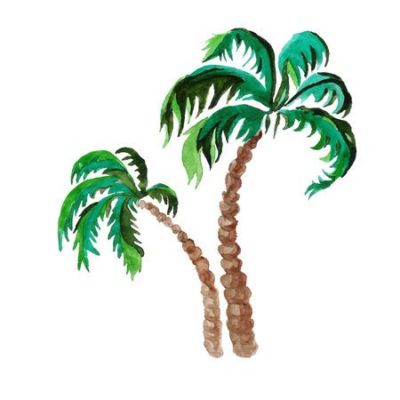 palmen. waterverf het schilderen op een witte achtergrond Stock Illustratie