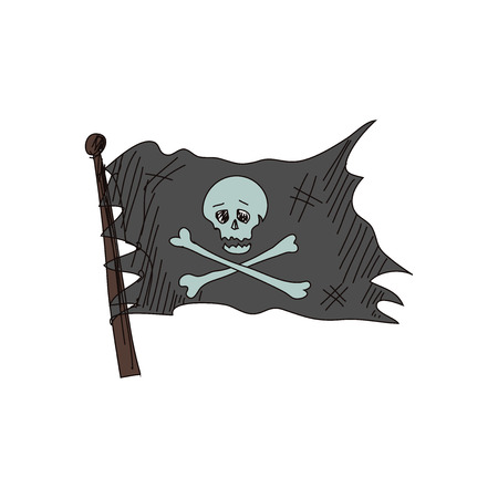 roger: doodle Jolly Roger, isolated in white background Illustration