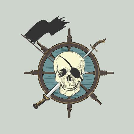huesos: Emblemas de cr�neos en el tema del pirata Vectores