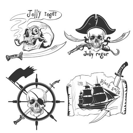 Labels pirate theme hand drawing Vettoriali