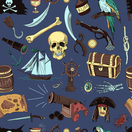 Hand drawn pattern with pirate elements and objects on color background.