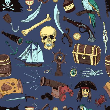 pirata: Mano patrón dibujado con elementos de piratas y objetos en el fondo de color.