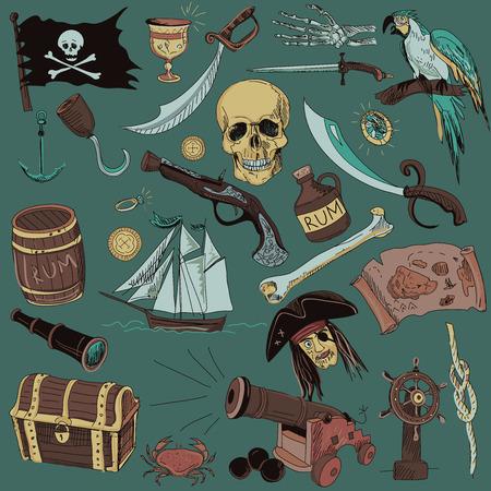 pirata: Dibujado a mano conjunto con elementos de piratas y objetos en el fondo de color. Vectores
