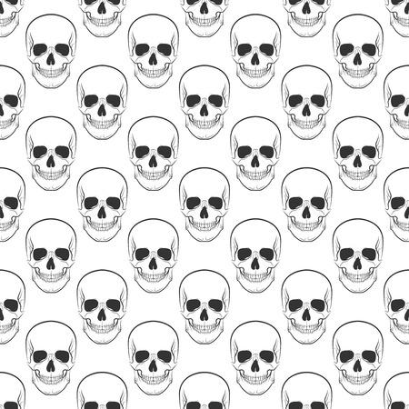 artnouveau: pattern with skulls on white background.
