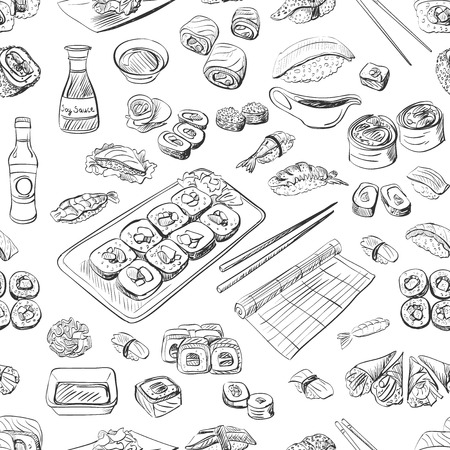 sushi: Sushi and rolls seamless pattern