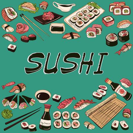 plato de comida: Ilustración de sushi. Dibujado a mano de estilo, excelente ilustración