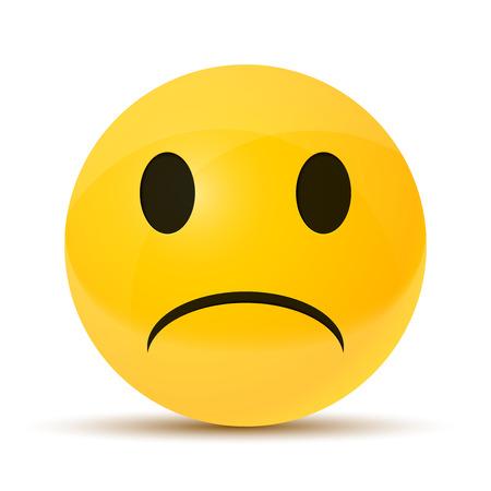geel droevig gezicht, uitstekende illustratie