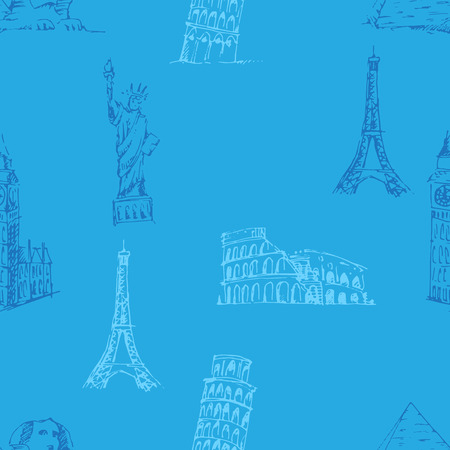famous: Doodle Travel pattern. World famous landmarks illustration