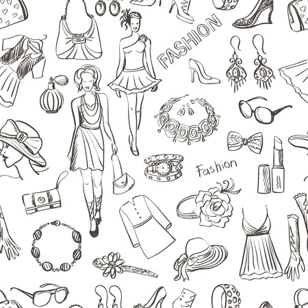 fashion jewelry: Hand drawn Fashion pattern, excellent vector illustration