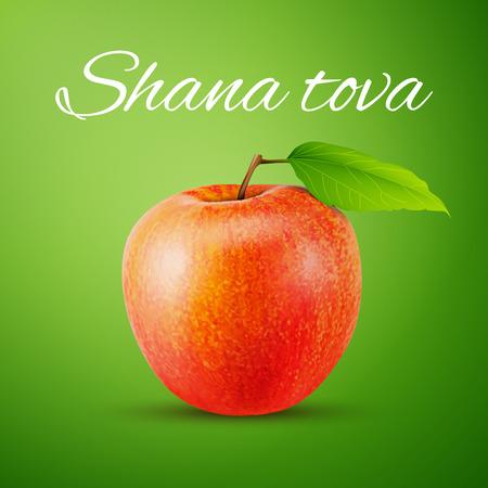 shana tova: Apple with Shana Tova tag, excellent vector illustration