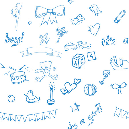 Baby doodle pattern, excellent vector illustration  矢量图像