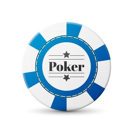 single blue casino chip isolated on white background