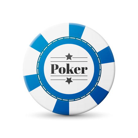 casino chip: single blue casino chip isolated on white background
