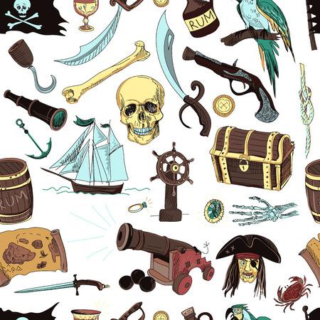 mapa del tesoro: Mano patr�n dibujado con elementos de piratas y objetos en el fondo de color.