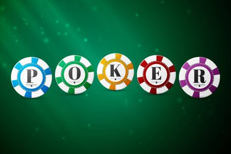 poker: Colorful poker chips on a green background, excellent vector illustration