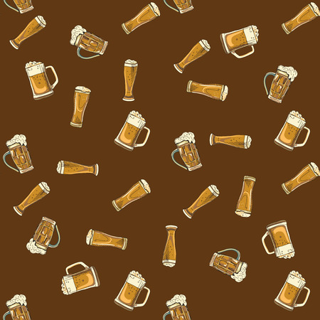 brawn: doodle beer glasses pattern, hand drawings, brawn background
