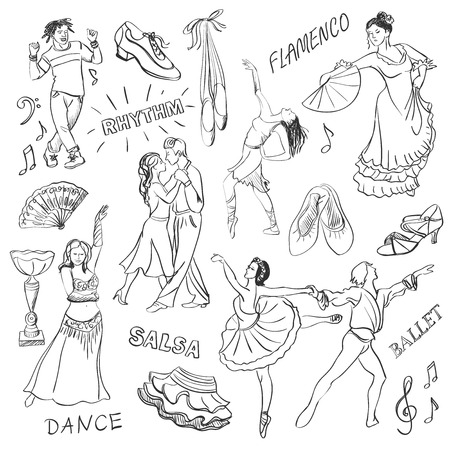 atmosphere: Hand drawn Dance collection isolated in white