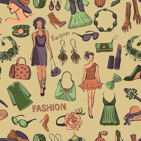 Hand drawn Seamless pattern with scratched beauty and fashion symbols, excellent vector illustration  Ilustracja