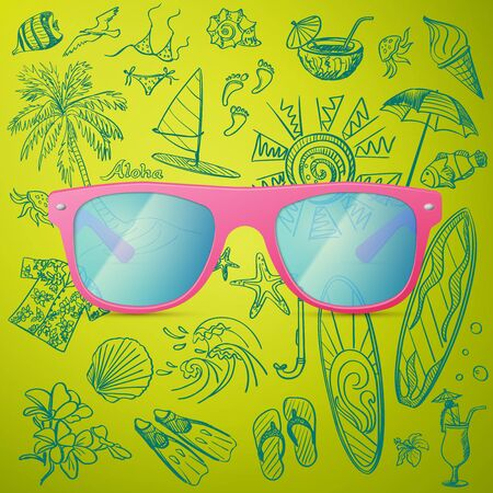 tourist icon: Pink Ladies Sunglasses and hand draw tourist icon