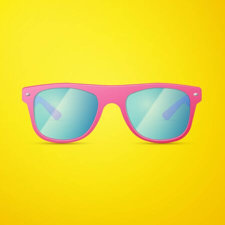 sunglasses isolated: Pink Ladies Sunglasses isolated on yellow, excellent vector illustration  Illustration