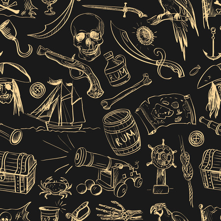 pirate skull: Hand drawn pirate seamless pattern, excellent vector illustration  Illustration