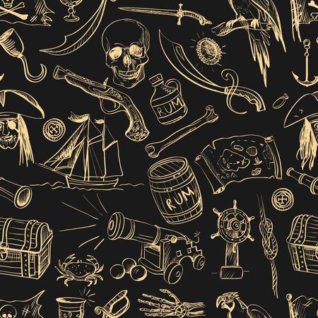 calavera caricatura: Mano pirata dibujado sin patrón, excelente ilustración vectorial