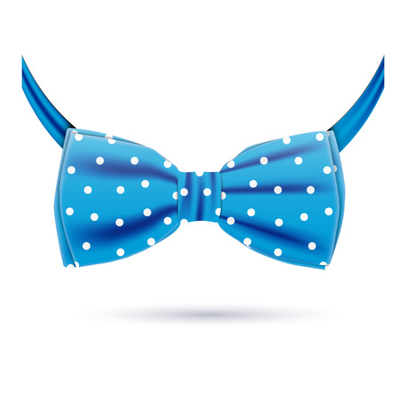 Vector blue bow tie icon in polka dot isolated on white background. Hipster style Illustration